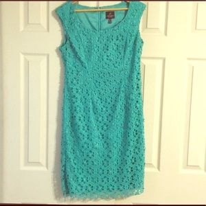 Adrianna Papell size 8 teal floral dress